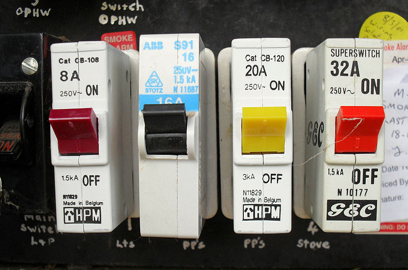 A main switch box with reliable breakers