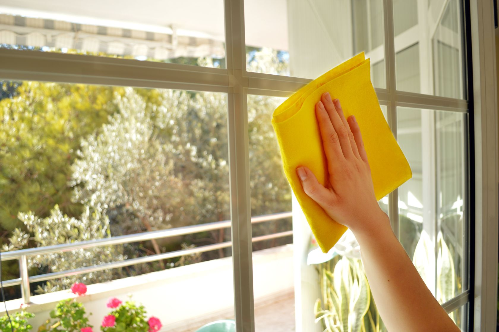 Clean the window panes with a dry cloth